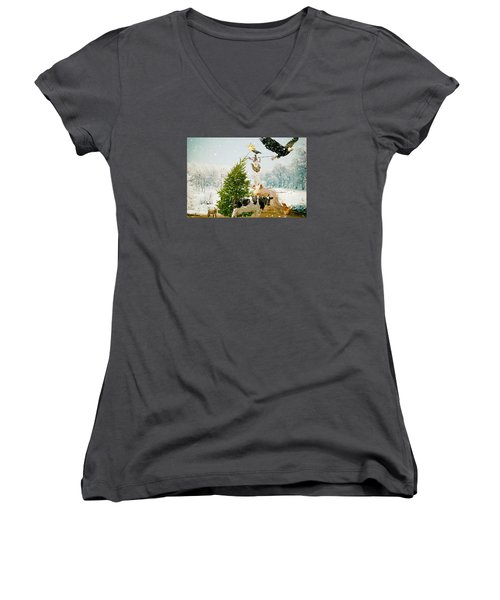 Women's V-Neck T-Shirt (Junior Cut) featuring the photograph Placing Your Star by James Bethanis