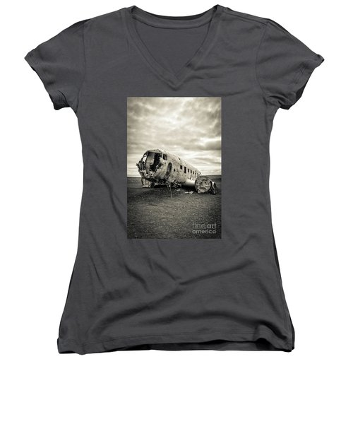 Women's V-Neck T-Shirt featuring the photograph Plane Crash Iceland by Edward Fielding