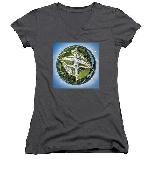 Women's V-Neck T-Shirt featuring the photograph Planet Of The Roundabouts by Randy Scherkenbach