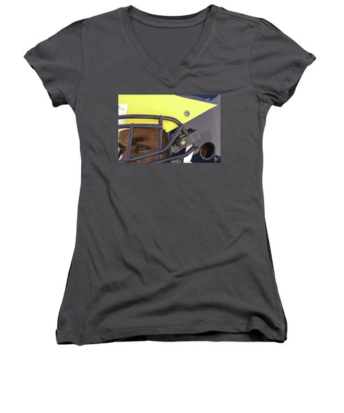 Player In Winged Helmet Women's V-Neck (Athletic Fit)