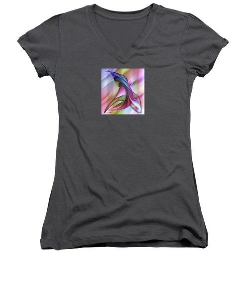 Playful Abstract  Women's V-Neck T-Shirt (Junior Cut) by Iris Gelbart