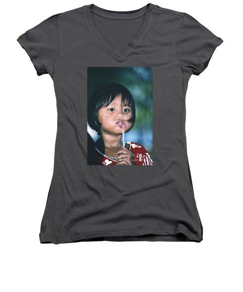 Women's V-Neck T-Shirt (Junior Cut) featuring the photograph Playful Little Girl In Thailand by Heiko Koehrer-Wagner