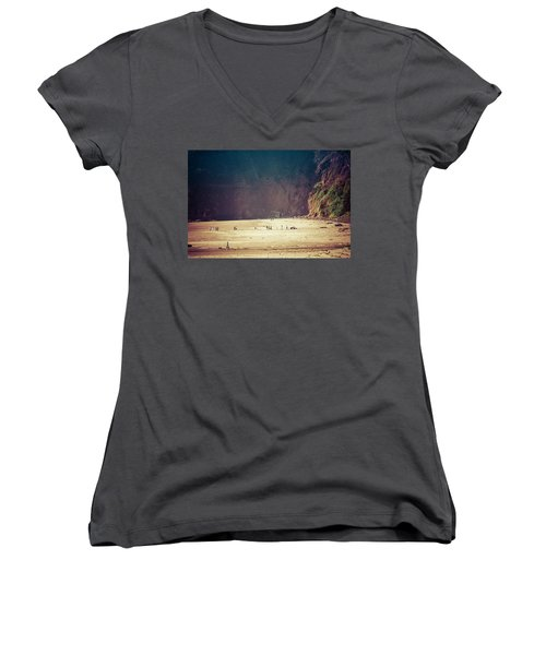 Playing Along Oceanside Oregon Women's V-Neck T-Shirt (Junior Cut) by Amyn Nasser