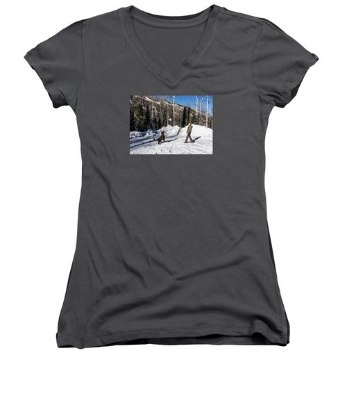 Playing Ball With A Beautiful Chocolate Lab Women's V-Neck T-Shirt (Junior Cut) by Carol M Highsmith