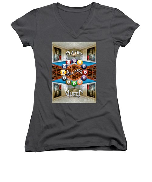 Playing Billiards With The Queen Versailles Palace Paris Women's V-Neck