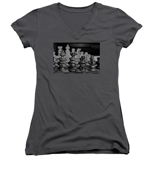 Women's V-Neck T-Shirt (Junior Cut) featuring the photograph Playing Chess 2 by Cendrine Marrouat