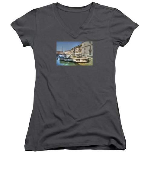Plaza Navona Rome Women's V-Neck T-Shirt