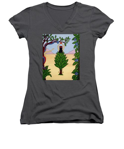 Women's V-Neck T-Shirt (Junior Cut) featuring the painting Please Don't Pick That Apple by Stephanie Moore