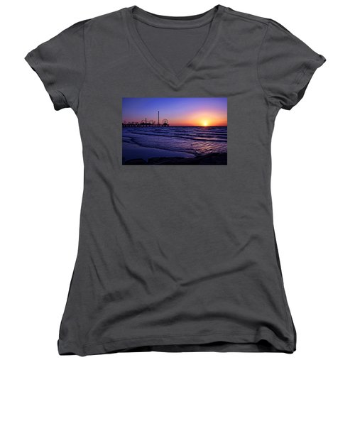 Pleasure Pier Sunrise Women's V-Neck T-Shirt (Junior Cut) by Judy Vincent