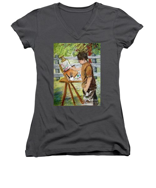Women's V-Neck T-Shirt (Junior Cut) featuring the painting Plein-air Painter Boy by Gretchen Allen