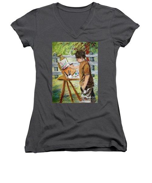 Plein-air Painter Boy Women's V-Neck (Athletic Fit)