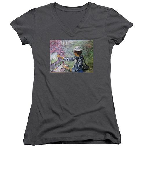 Women's V-Neck T-Shirt (Junior Cut) featuring the painting Plein-air Painter  by Gretchen Allen