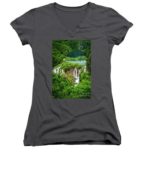 Plitvice Lakes National Park - A Heavenly Crystal Clear Waterfall Vista, Croatia Women's V-Neck