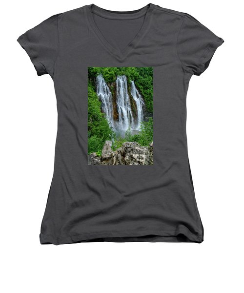 Plitvice Lakes Waterfall - A Balkan Wonder In Croatia Women's V-Neck (Athletic Fit)