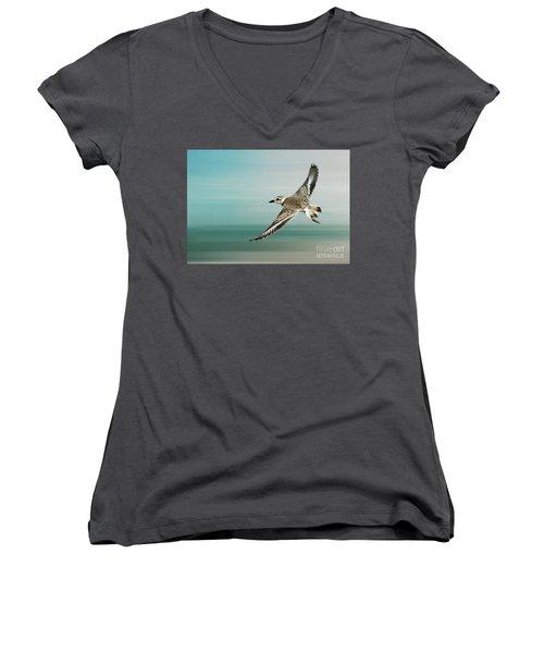 Plover In Flight Women's V-Neck T-Shirt