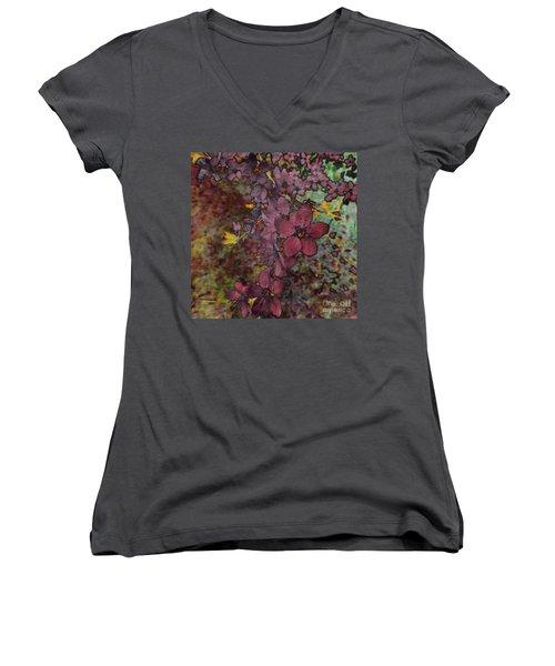 Women's V-Neck T-Shirt (Junior Cut) featuring the photograph Plum Blossom by LemonArt Photography
