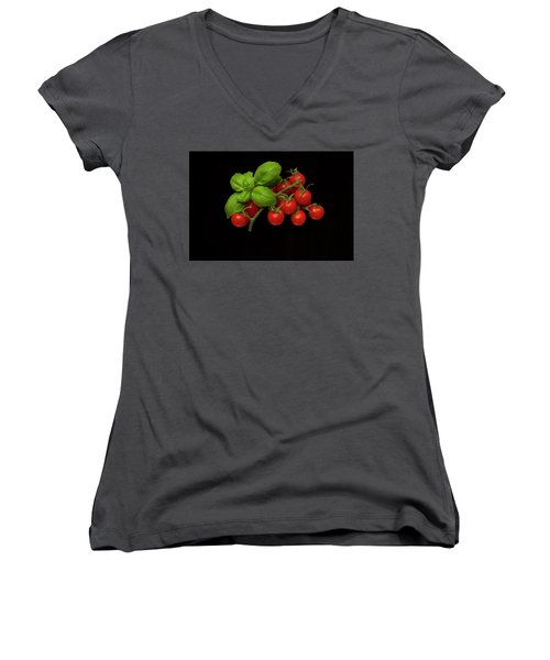 Women's V-Neck T-Shirt (Junior Cut) featuring the photograph Plum Cherry Tomatoes Basil by David French
