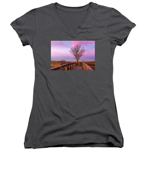 Plum Island Boardwalk With Tree Women's V-Neck T-Shirt (Junior Cut) by Betty Denise