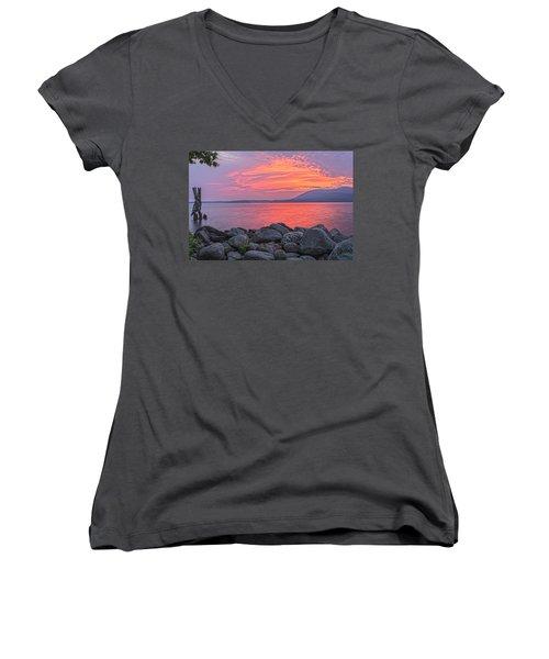 Plum Point Awakening Women's V-Neck T-Shirt