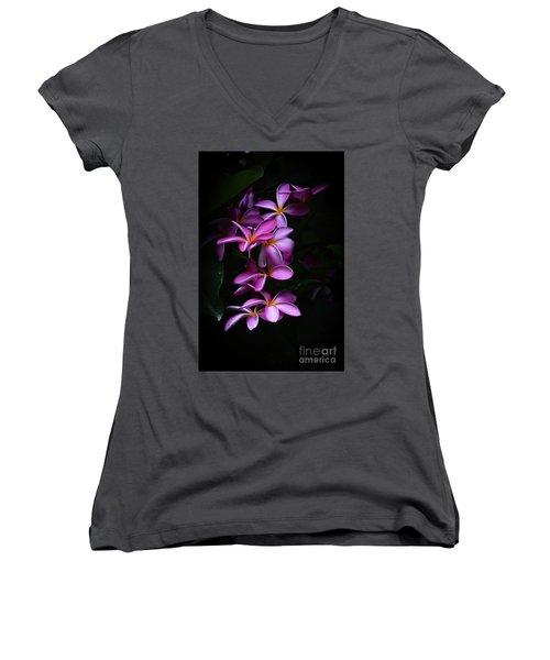 Plumeria Light Women's V-Neck T-Shirt (Junior Cut) by Kelly Wade