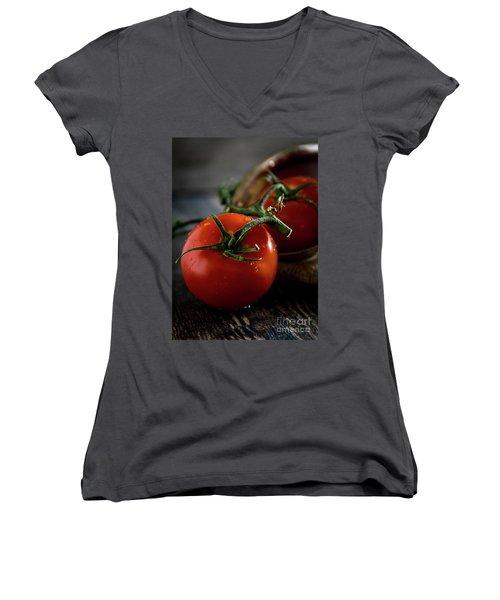 Plump Red Tomatoes Women's V-Neck T-Shirt (Junior Cut)