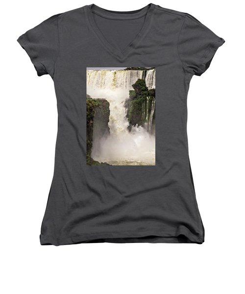 Women's V-Neck T-Shirt featuring the photograph Plunge by Alex Lapidus