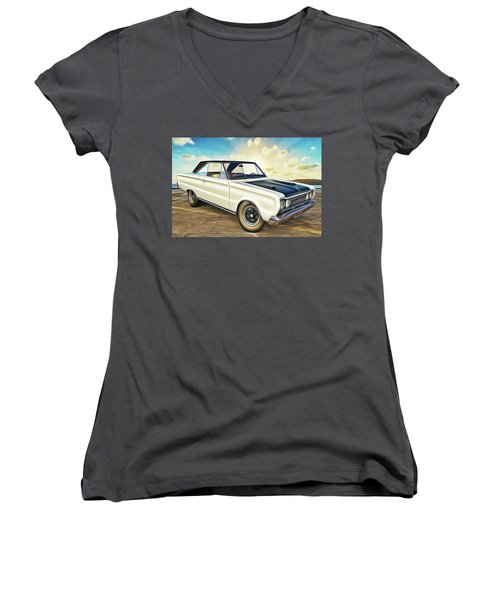 Women's V-Neck featuring the painting Plymouth by Harry Warrick