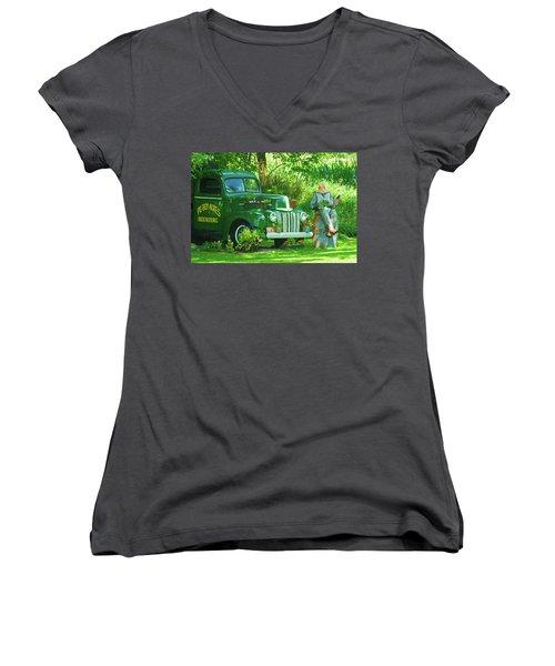 Po Boy Acres Women's V-Neck T-Shirt (Junior Cut) by Trey Foerster