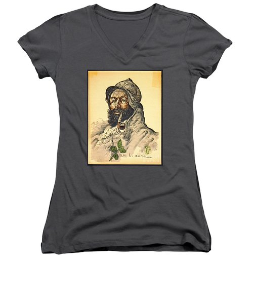 Poilu 1916 Women's V-Neck T-Shirt (Junior Cut) by Padre Art