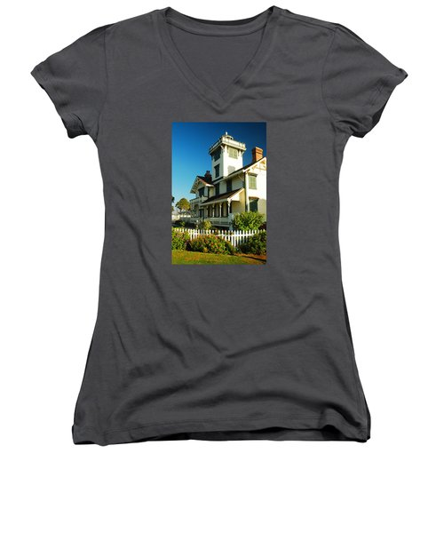 Point Fermin Lighthouse Women's V-Neck T-Shirt (Junior Cut) by James Kirkikis