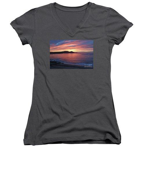 Point Lobos Red Sunset Women's V-Neck T-Shirt