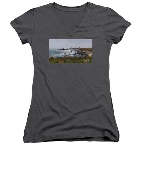 Women's V-Neck T-Shirt (Junior Cut) featuring the photograph Point Montara Lighthouse by David Bearden