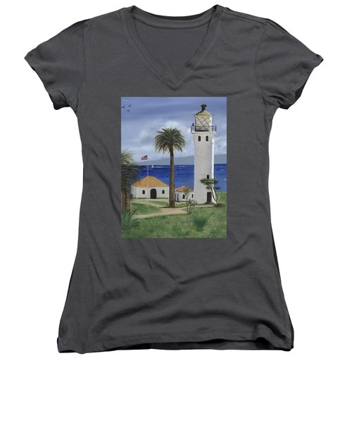 Point Vicente Lighthouse Women's V-Neck T-Shirt (Junior Cut) by Jamie Frier