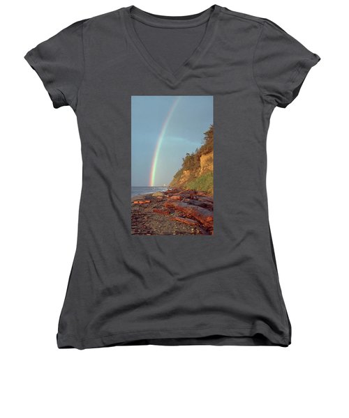 Women's V-Neck T-Shirt (Junior Cut) featuring the photograph Point Wilson by Laurie Stewart
