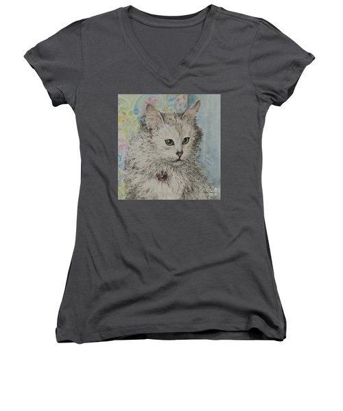 Poised Cat Women's V-Neck T-Shirt (Junior Cut) by Kim Tran