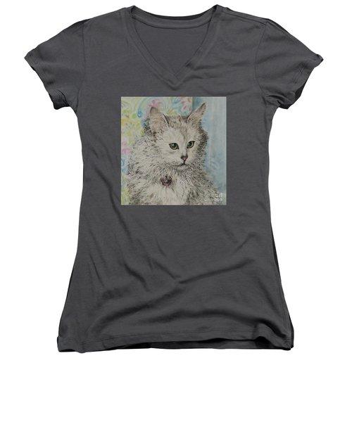 Poised Cat Women's V-Neck T-Shirt