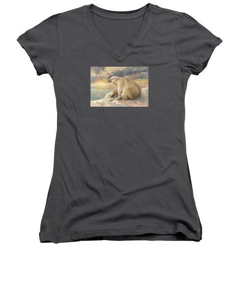 Women's V-Neck T-Shirt (Junior Cut) featuring the painting Polar Bear Rests On The Ice - Arctic Alaska by Svitozar Nenyuk