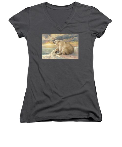 Polar Bear Rests On The Ice - Arctic Alaska Women's V-Neck T-Shirt