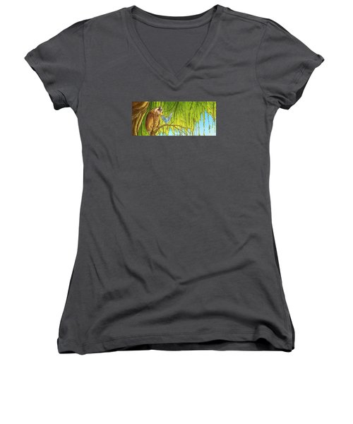Polly And Her Friend, Elfie Women's V-Neck T-Shirt (Junior Cut) by Reynold Jay