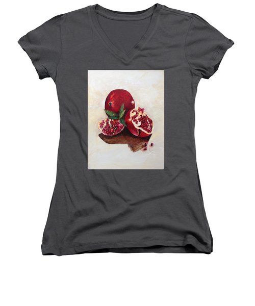 Pomegranate  Women's V-Neck T-Shirt