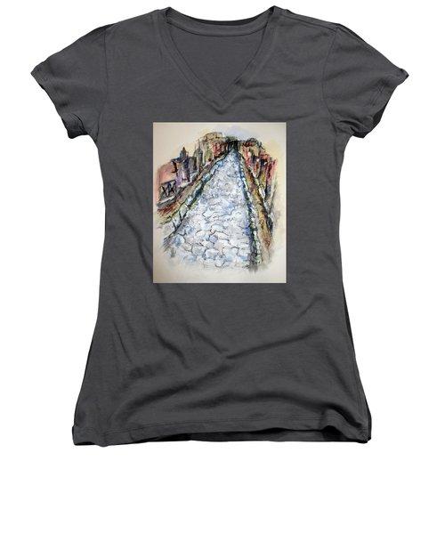 Pompeii Road Women's V-Neck T-Shirt (Junior Cut) by Clyde J Kell