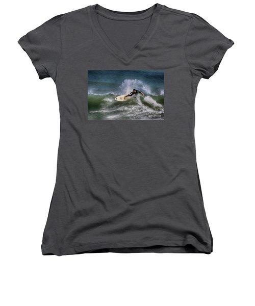 Women's V-Neck T-Shirt (Junior Cut) featuring the photograph Ponce Surfer 2017 by Deborah Benoit
