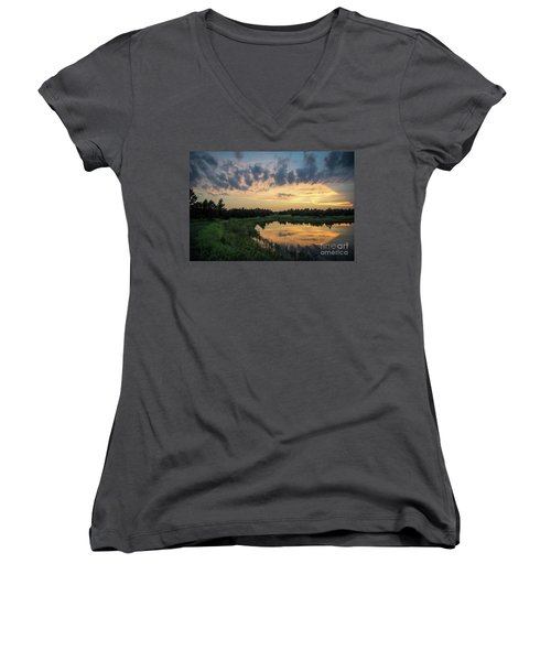 Pond And Sunset Women's V-Neck (Athletic Fit)