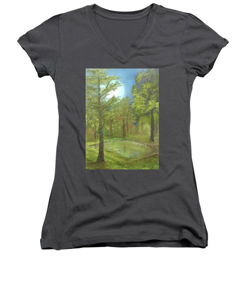 Women's V-Neck T-Shirt (Junior Cut) featuring the mixed media Pond by Angela Stout