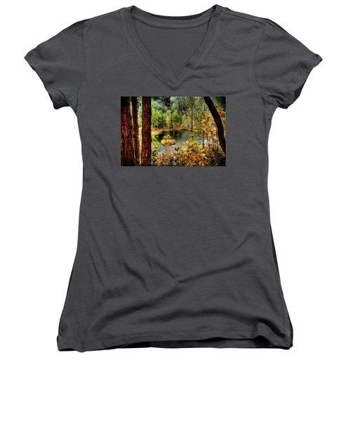Pond At Golden Or. Women's V-Neck T-Shirt