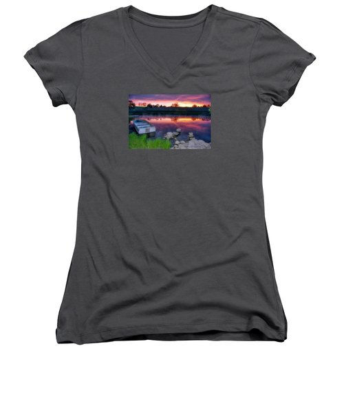 Pond Dreams 9 Women's V-Neck