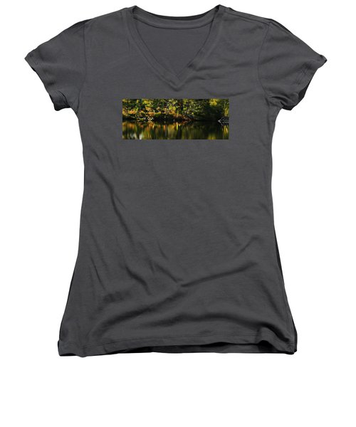 Women's V-Neck T-Shirt (Junior Cut) featuring the photograph Pond Reflections by Katie Wing Vigil