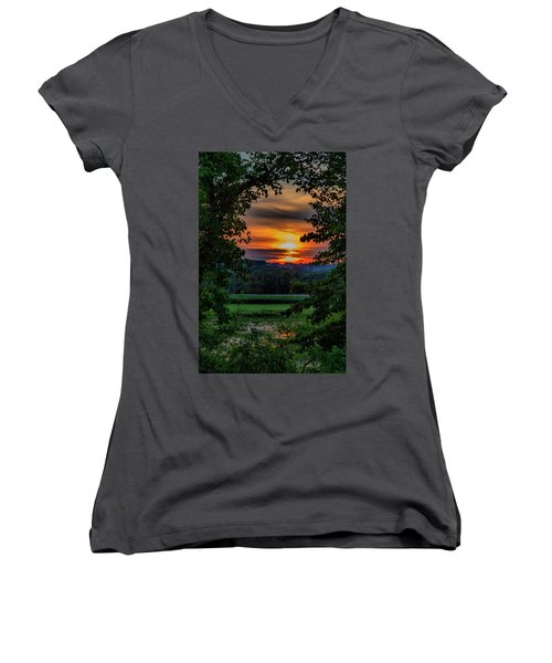 Pond Sunset  Women's V-Neck (Athletic Fit)