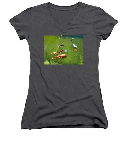 Pond With Koi Fish Women's V-Neck T-Shirt (Junior Cut) by Joseph Frank Baraba