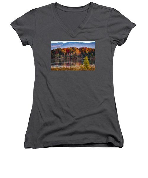 Pondicherry Fall Foliage Reflection Women's V-Neck